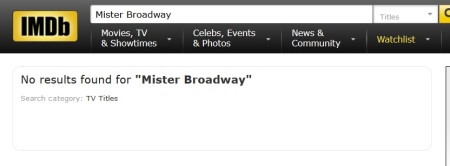 Mister Broadway iMDB search 2016-0507